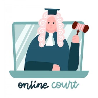 Judge in a wig on laptop screen. computer online legal proceedings .law consulting, juridical help online. lockdown home office, remote job. flat vector illustration.