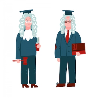 Judge in a wig - man and woman. character set with books and hammer for process of the court and protection rights of citizen.