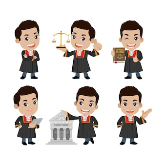 Judge with different poses vector