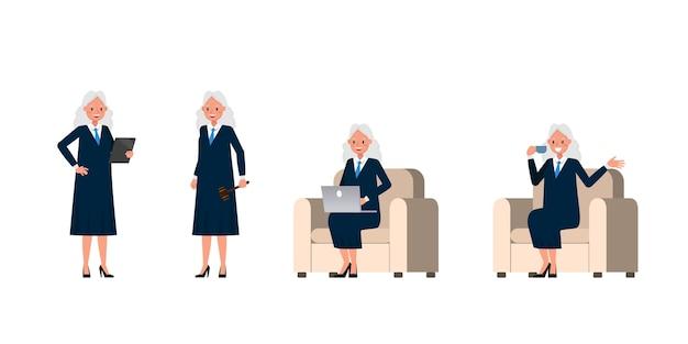 Судья женский персонаж. презентация в различном действии.