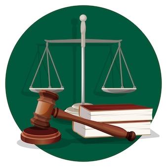 판사 나무 망치, 그레이 스케일 및 흰색 라운드 녹색 라벨에 두 권의 책. 판사와 변호사를위한 법정에서 플랫 스타일의 전통적인 요소. 올바른 문장을 만들기위한 것의 수집