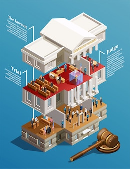 Judgement hall isometric infographics