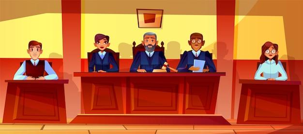 Судьи при судебном разбирательстве иллюстрации интерьера зала суда.