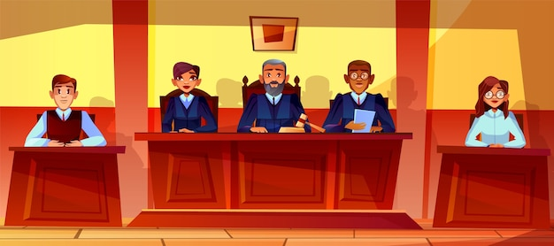Judges at court hearing illustration of courtroom interior background.