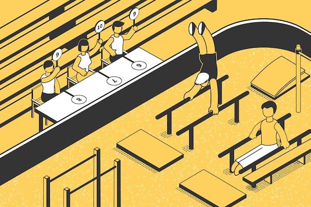 芸術的な陸上競技の競争で投票する裁判官は等尺性