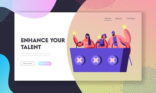Judges voting with golden stars on talent show or artists stage audition. website landing page template