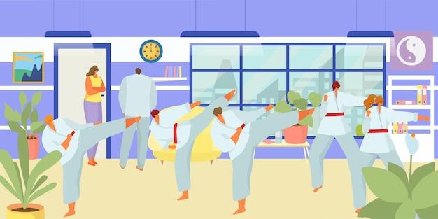 Класс дзюдо, векторные иллюстрации. мужчина женщина люди характер на тренировках тхэквондо, спорт с боевыми упражнениями. борец каратэ практикуется в униформе, человек стоит в позе кунг-фу в тренажерном зале.
