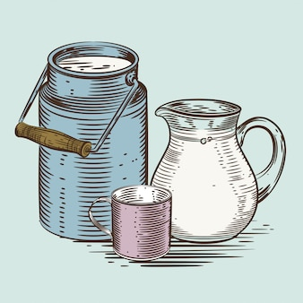 A jug for milk and a cup.