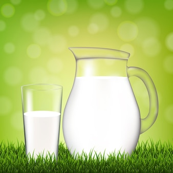 Jug with glass and grass border illustration