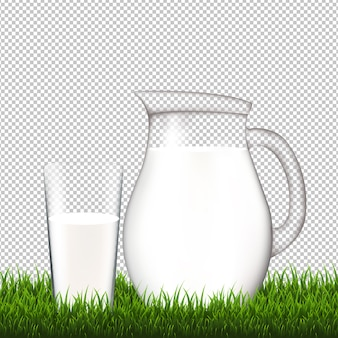 Jug with glass and grass border transparent