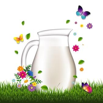 우유와 잔디와 꽃 일러스트와 함께 용기