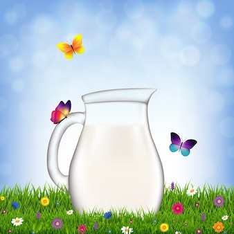 Jug with milk and grass and flowers with gradient mesh,  illustration