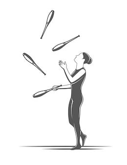 Juggling clubs. circus element isolated. illustration for circus
