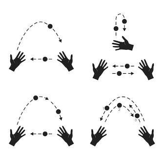Жонглирование. руки бросают мяч силуэт плоский стиль