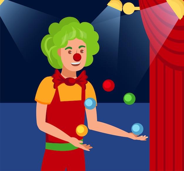 Juggling harlequin flat color vector illustration