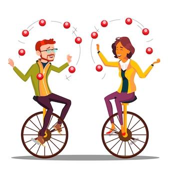 Жонглирование люди. деловой человек, женщина жонглирование на одноколесном велосипеде.