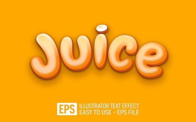 주스 3d 텍스트 편집 가능한 스타일 효과 템플릿