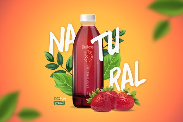 Juice ad with gradients and lettering
