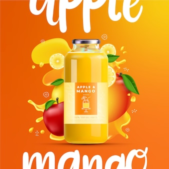 Juice ad with gradients and letterings