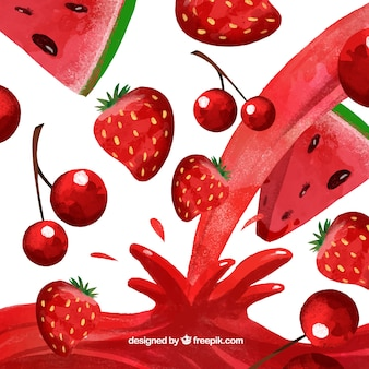 Juice background with watermelon, cherry and strawberry in watercolor style