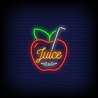 Логотип juice bar с неоновыми вывесками в стиле текста