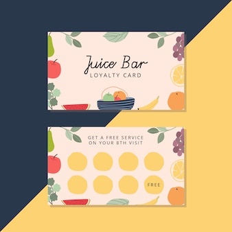 Juice bar loyalty card with fresh fruit