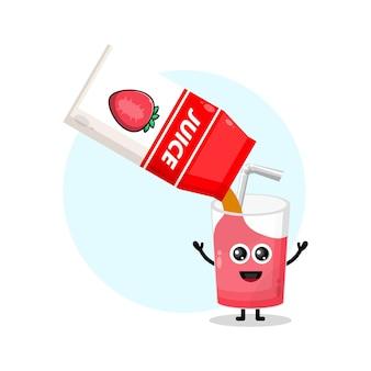 Коробка сока клубничный стакан милый персонаж логотип
