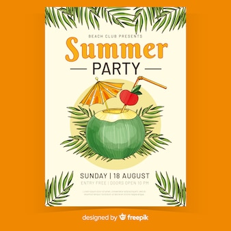 Juice in coconut summer party poster