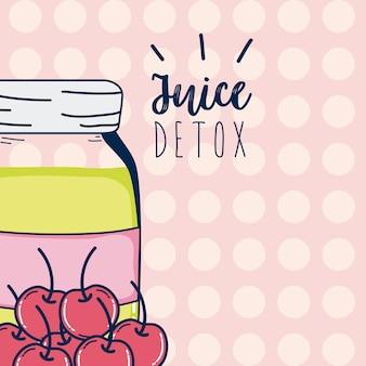Juice detox cherries mason jar