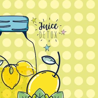Juice detox lemonade mason jar