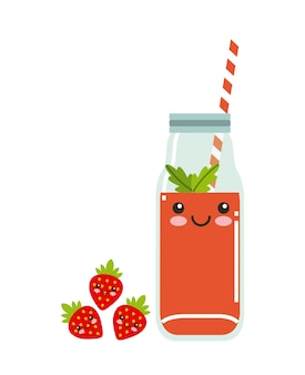 Juice fruit kawaii character isolated icon