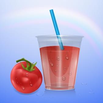 주스 절연, 3d 그림입니다. 토마토 주스와 잘 익은 토마토의 현실적인 플라스틱 컵