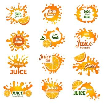 ジュースのロゴ。オレンジ色のインク滴が飲み物のバッジをはねかける