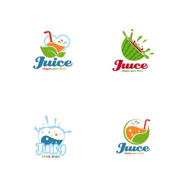 Juice logo set vector Premium Vector