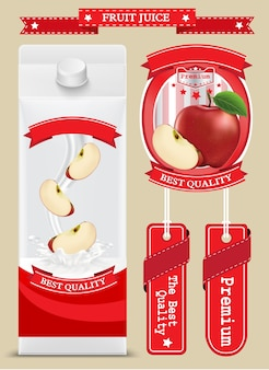 Juice milk blank white carton boxes packages with apple. vector illustration