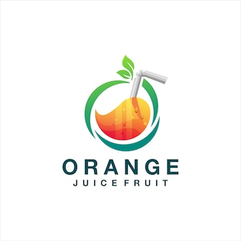 Juice orange gradient logo design