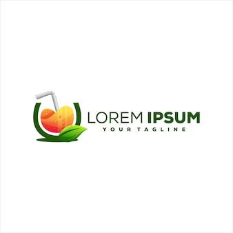 Дизайн логотипа градиента апельсина сока