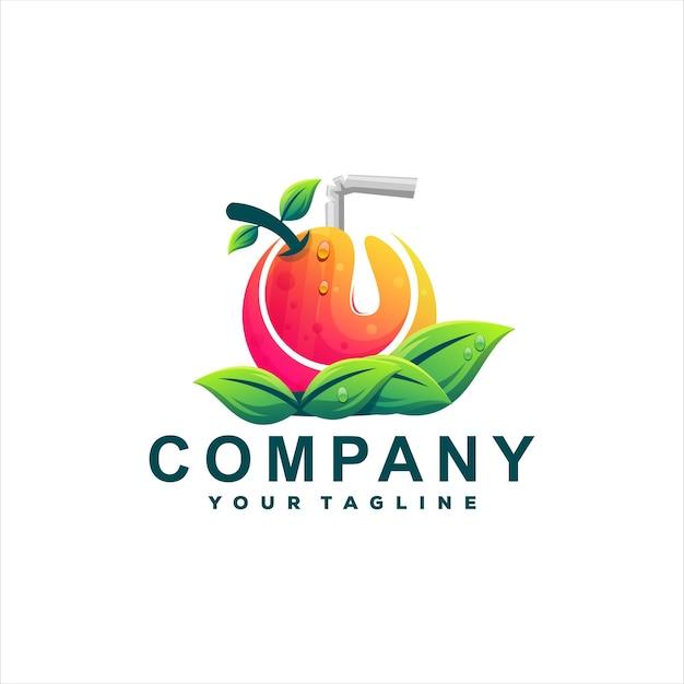 Дизайн логотипа сока апельсиновый градиент