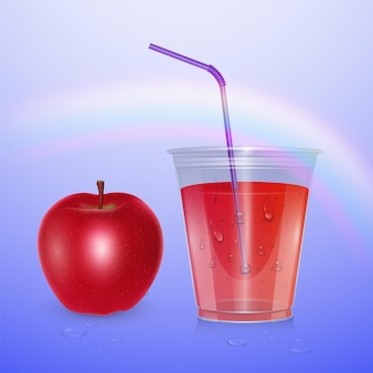ジュース、スムージーカップ、3dイラスト。リンゴジュースとリアルなプラスチックカップ