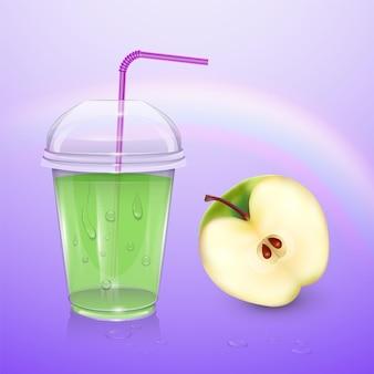 Сок, чашка смузи, 3d иллюстрации. реалистичный пластиковый стаканчик с яблочным соком
