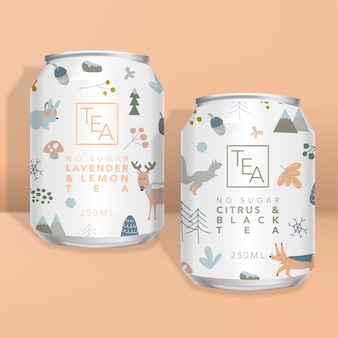Juice, soda, tea or coffee can  packaging, winter forest animals minimal design