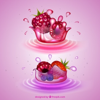 Juice splashes collection with realistic fruits