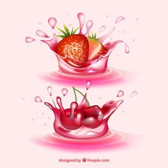 Il succo spruzza la raccolta con frutti realistici Vettore gratuito