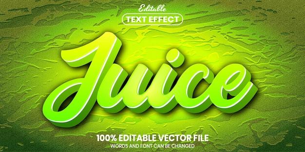 Текстовый сок, редактируемый текстовый эффект в стиле шрифта