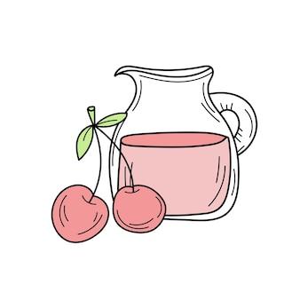 新鮮なベリーとガラスの水差しベクトル漫画カードでチェリーとジュース