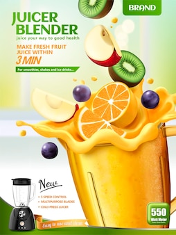 Juicer blender banner with fresh sliced fruits dropping in container on bokeh kitchen surface, 3d illustration