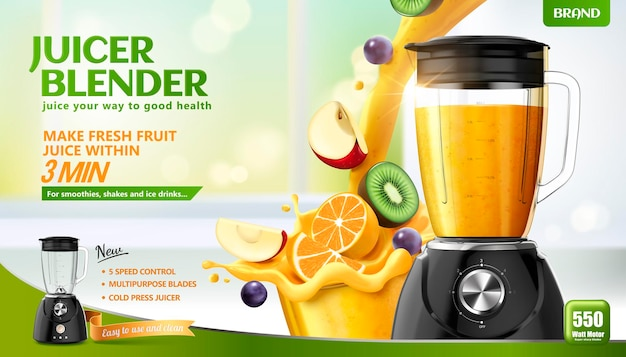 Juicer blender banner with fresh sliced fruits and juice pouring into container on bokeh kitchen surface, 3d illustration