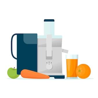 Соковыжималка. соковыжималка для фруктов, изолированные на белом фоне. апельсиновый сок в стакане и фрукты. иллюстрация в плоском стиле