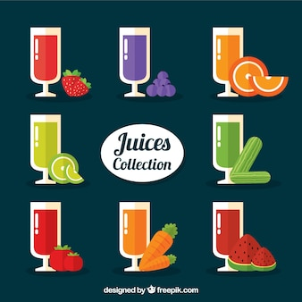 Juices collection in flat design with fruits