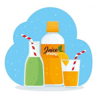 ボトル入りとグラス入りのジュース